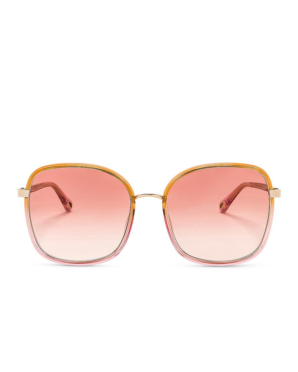 Image 1 of Chloe Franky Sunglasses in Shiny Gradient Transparent Honey