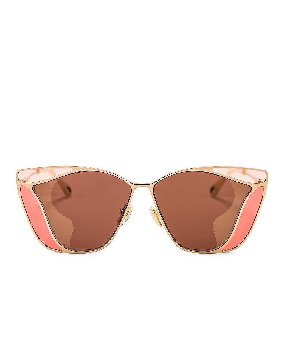 Image 1 of Chloe Gemma Sunglasses in Shiny Classic Gold & Solid Brown