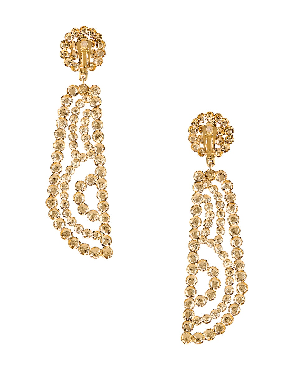 Image 4 of Chloe Statement Earrings in Gold