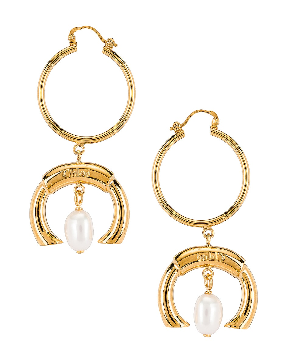 Image 1 of Chloe C Hoop Drop Earrings in Pearl