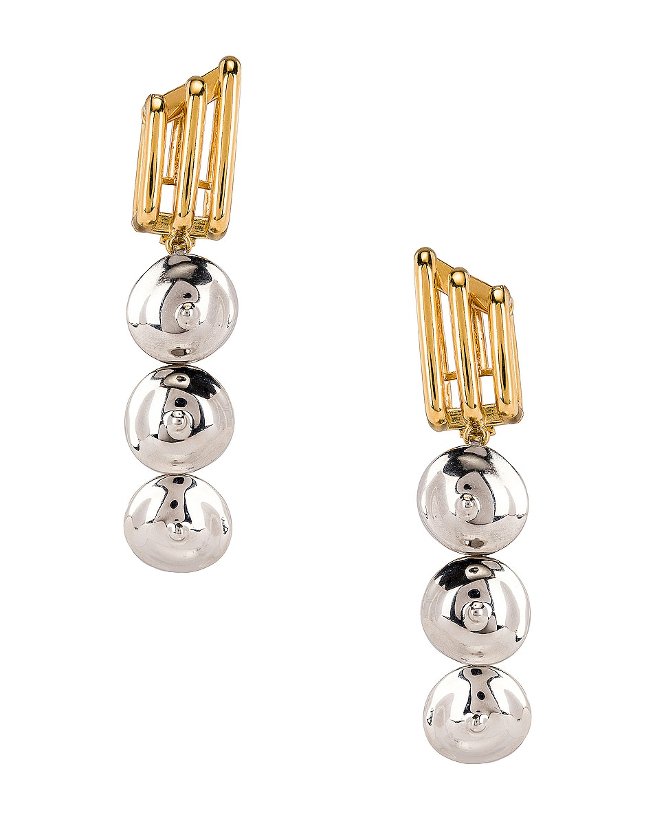 Image 1 of Chloe Circle Drop Earrings in Silver & Gold