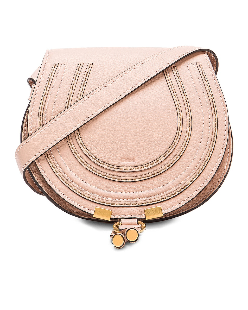 Image 1 of Chloe Small Marcie Grained Calfskin Saddle Bag in Blush Nude