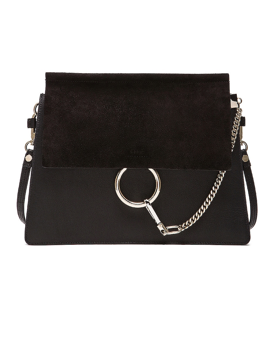 Image 1 of Chloe Medium Faye Suede & Calfskin Shoulder Bag in Black