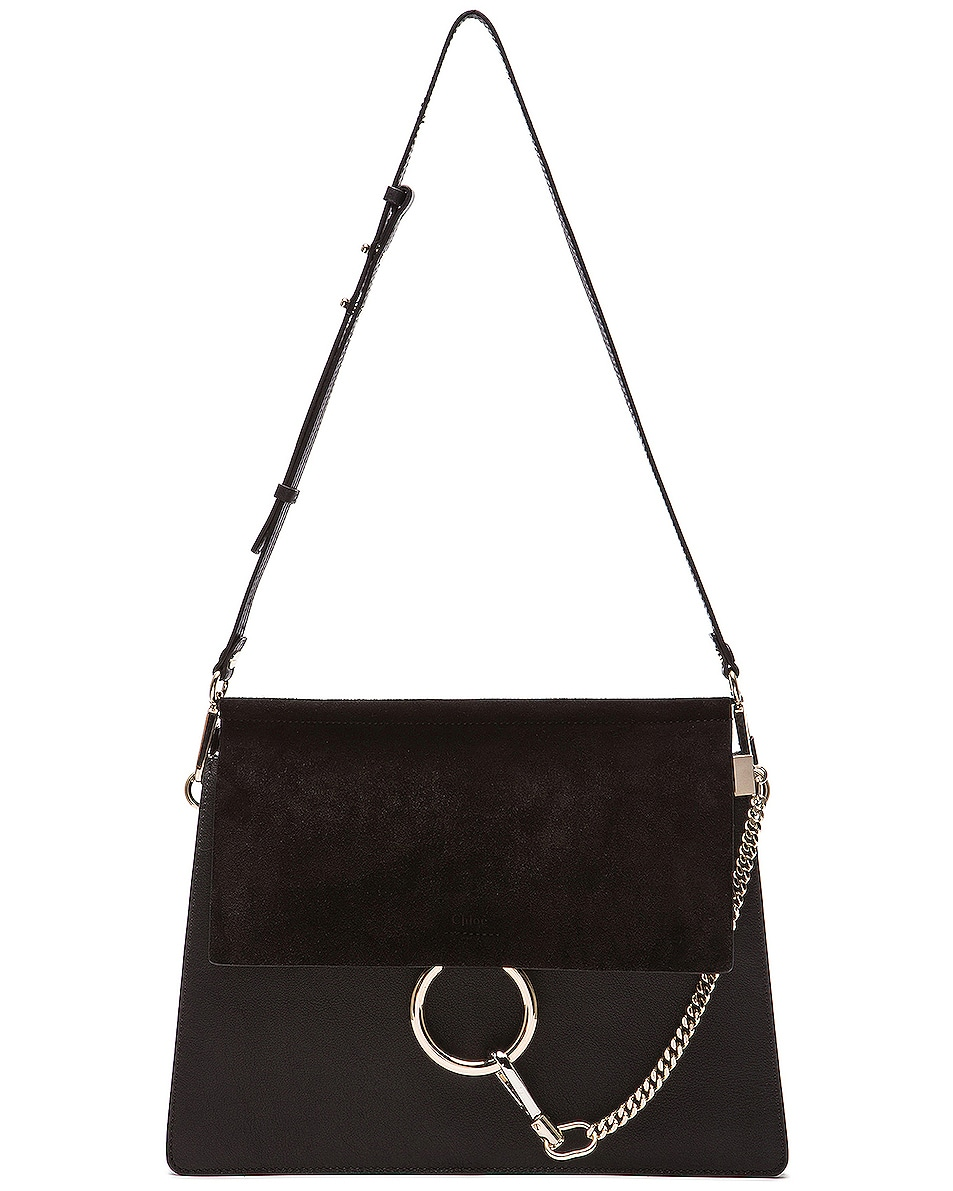 Image 6 of Chloe Medium Faye Suede & Calfskin Shoulder Bag in Black
