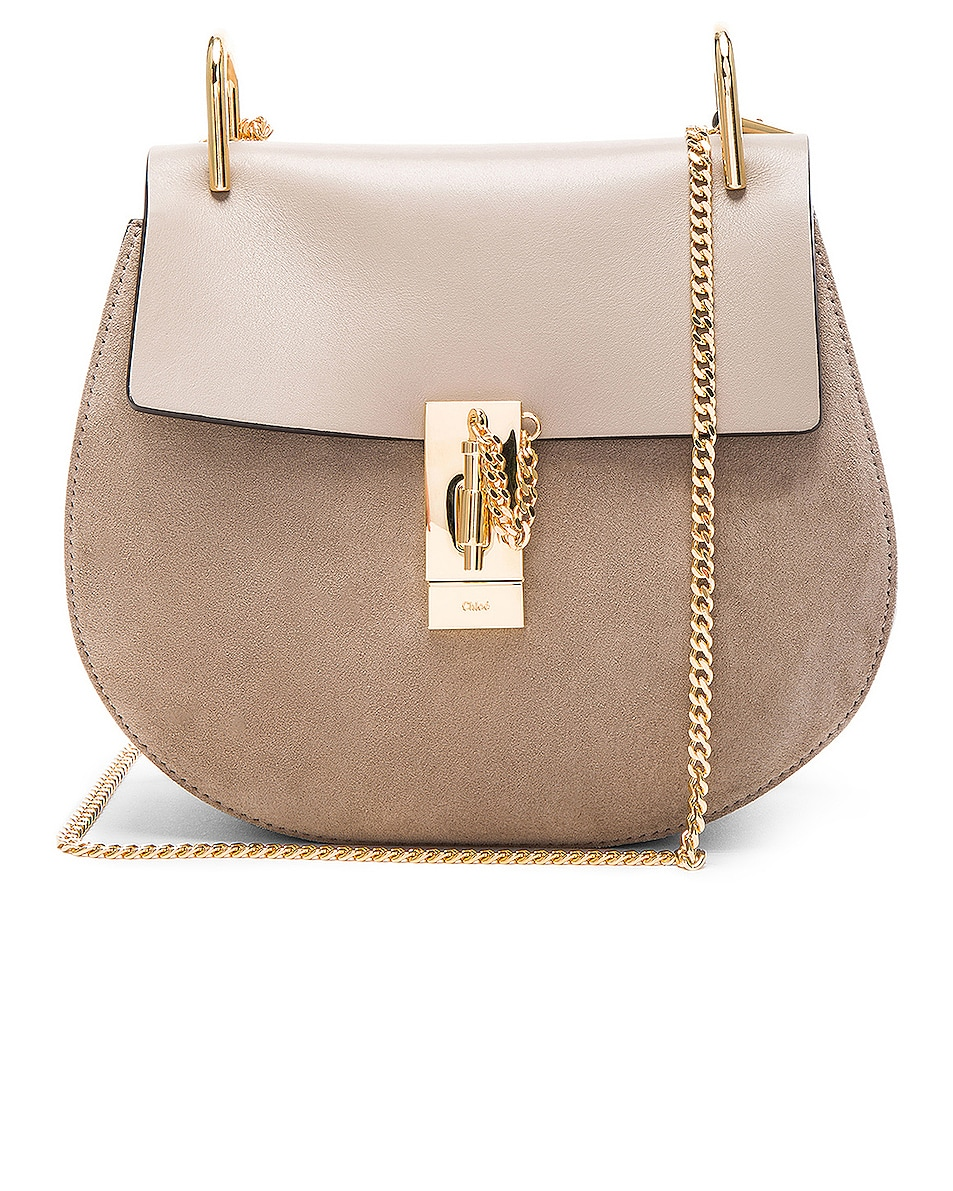 Image 1 of Chloe Small Drew Suede & Calfskin Shoulder Bag in Motty Grey