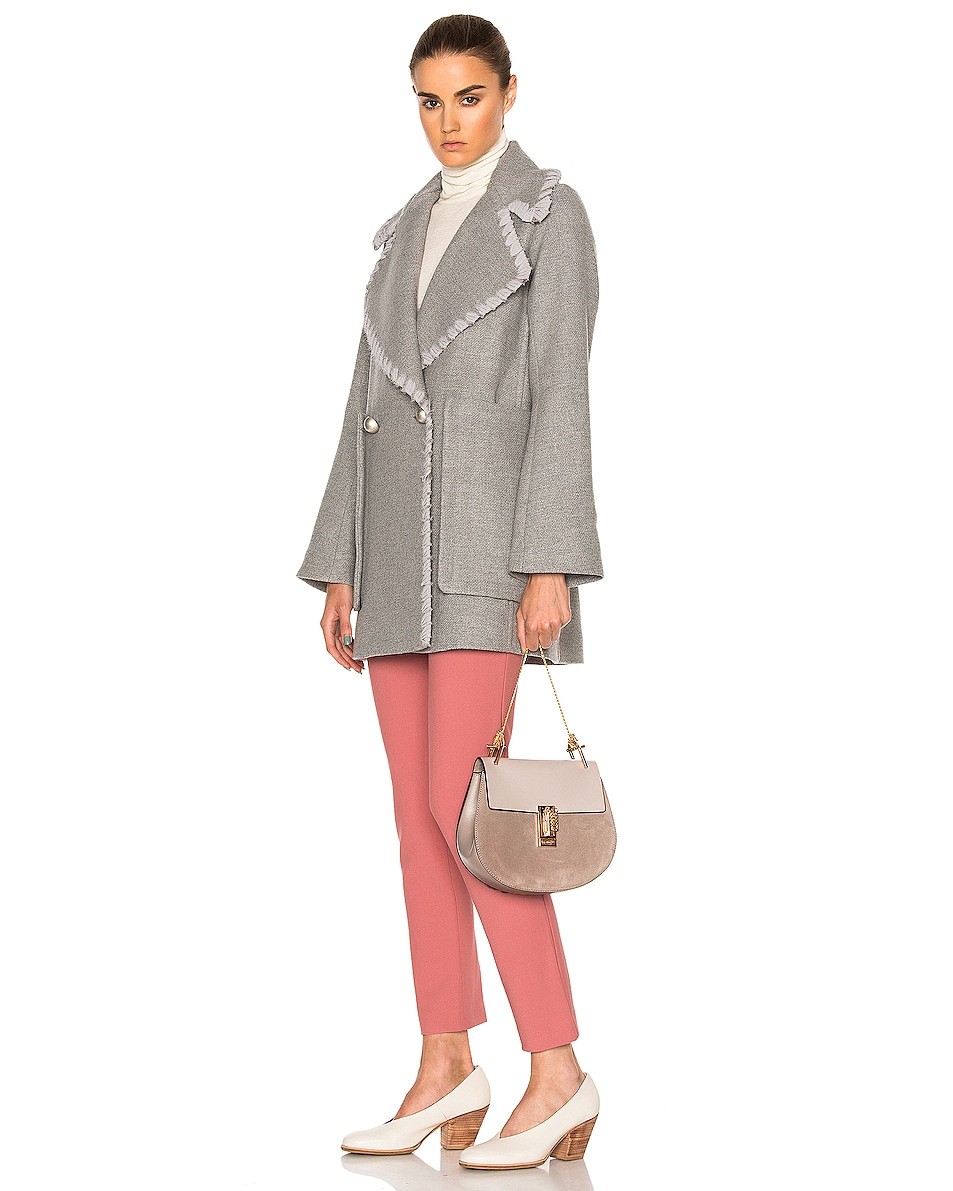 Image 2 of Chloe Small Drew Suede & Calfskin Shoulder Bag in Motty Grey
