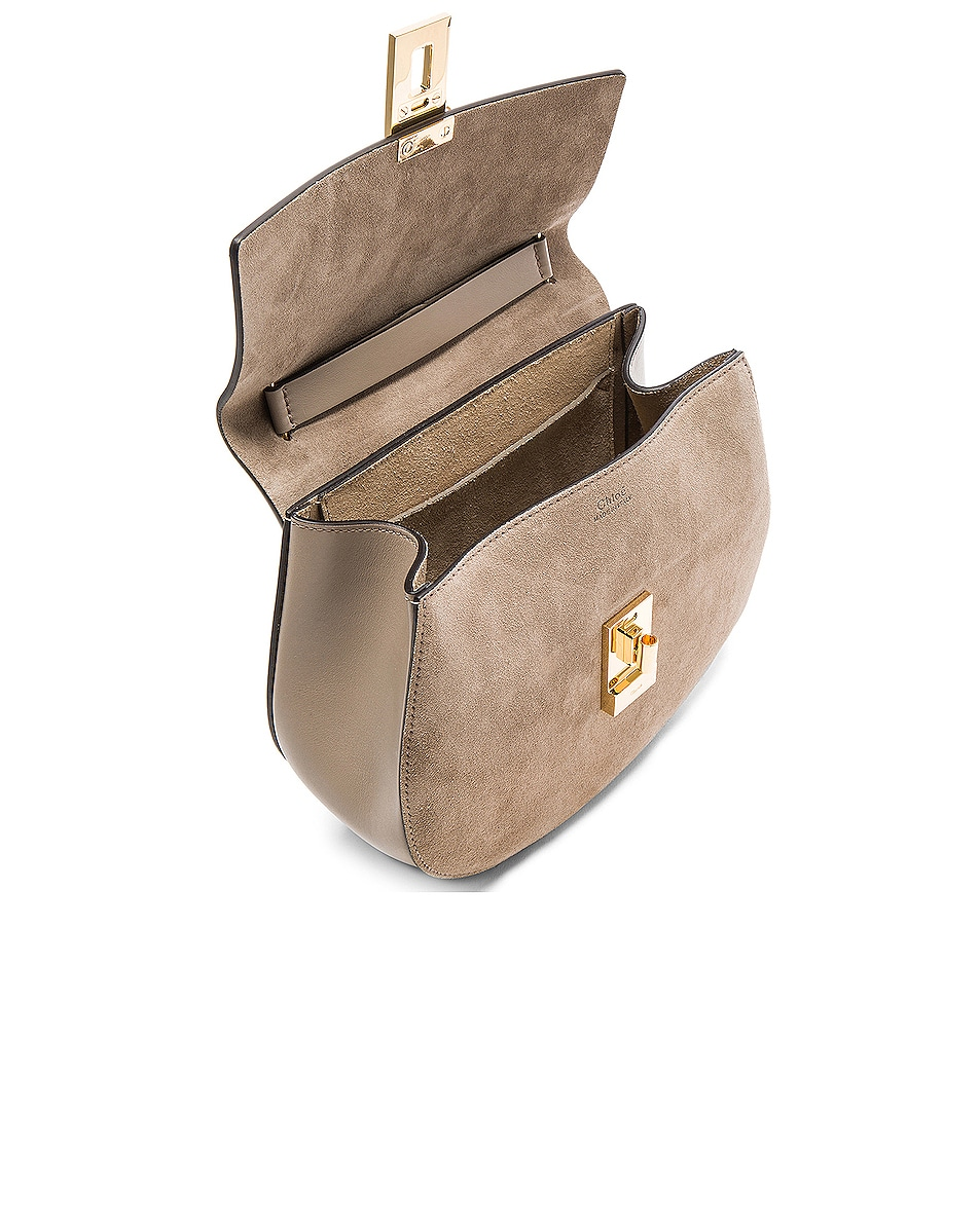 Image 5 of Chloe Small Drew Suede & Calfskin Shoulder Bag in Motty Grey