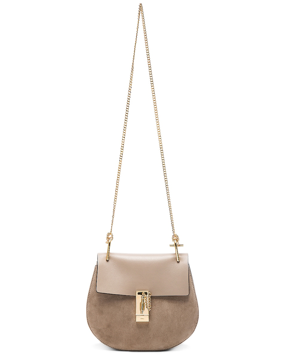Image 6 of Chloe Small Drew Suede & Calfskin Shoulder Bag in Motty Grey