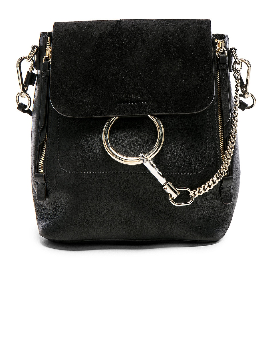Image 1 of Chloe Small Faye Backpack Suede & Calfskin in Black