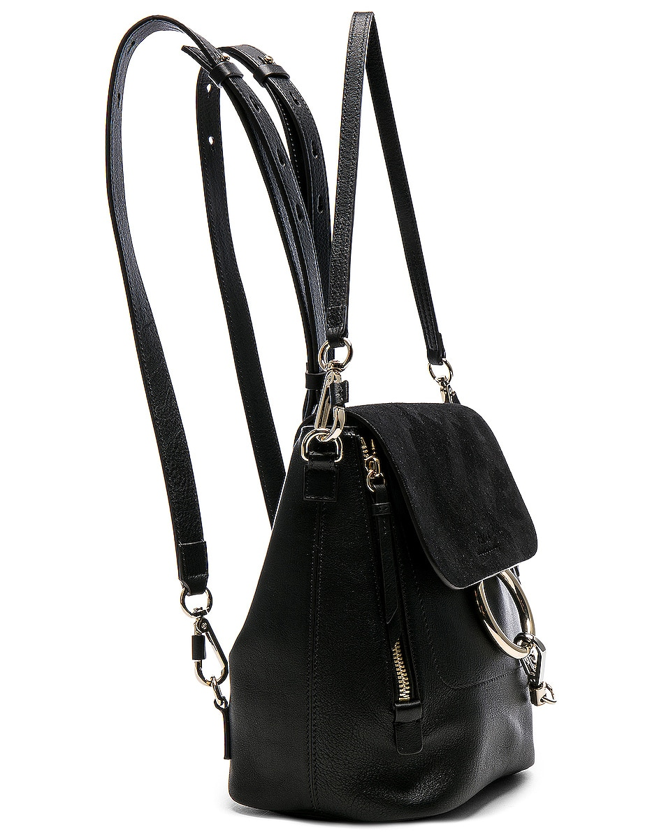 Image 4 of Chloe Small Faye Backpack Suede & Calfskin in Black