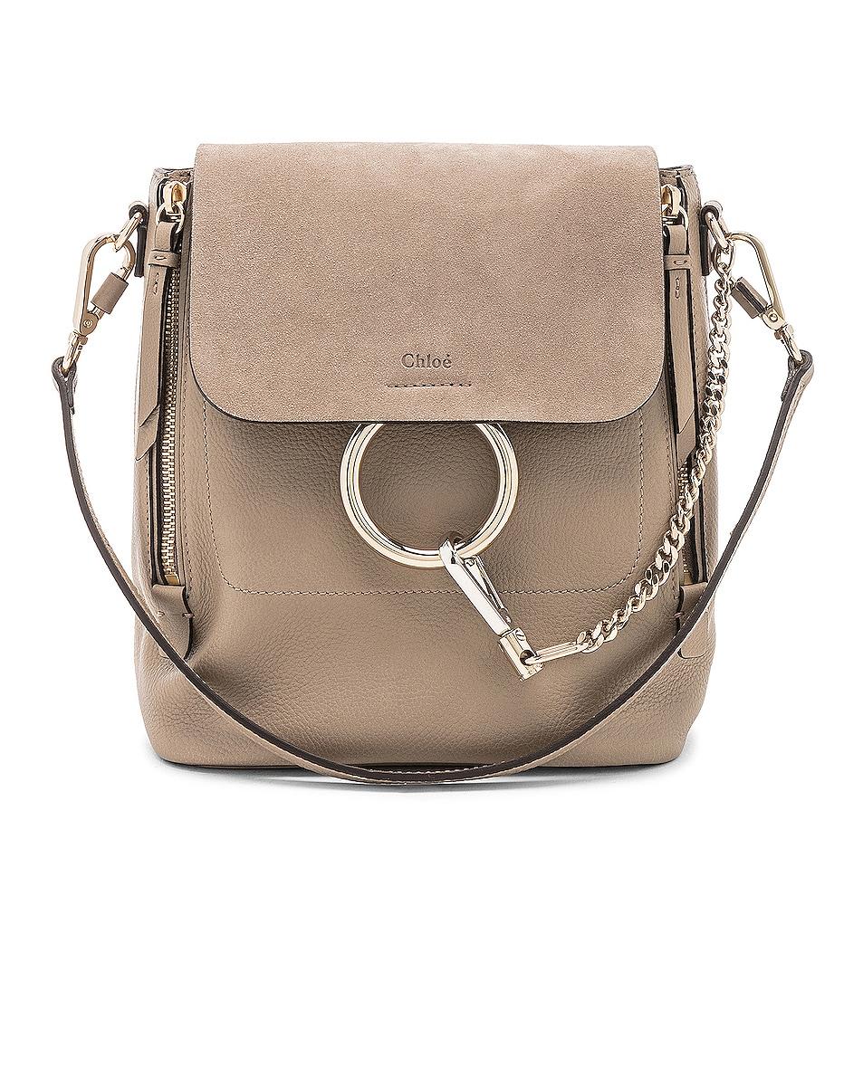 Image 1 of Chloe Small Faye Backpack Suede & Calfskin in Motty Grey