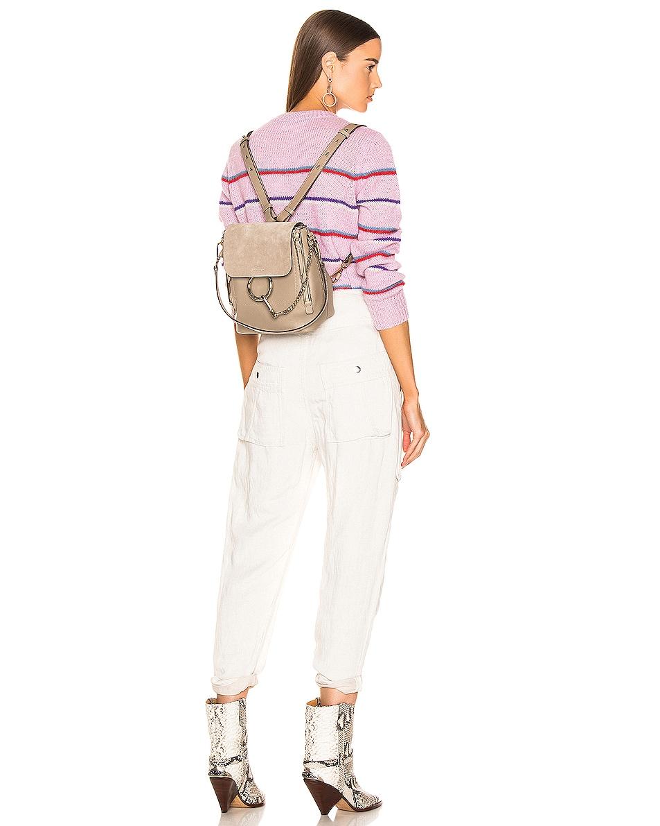 Image 2 of Chloe Small Faye Backpack Suede & Calfskin in Motty Grey