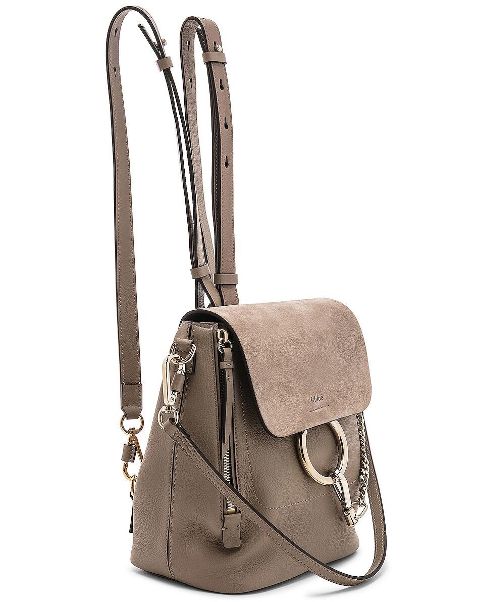 Image 4 of Chloe Small Faye Backpack Suede & Calfskin in Motty Grey