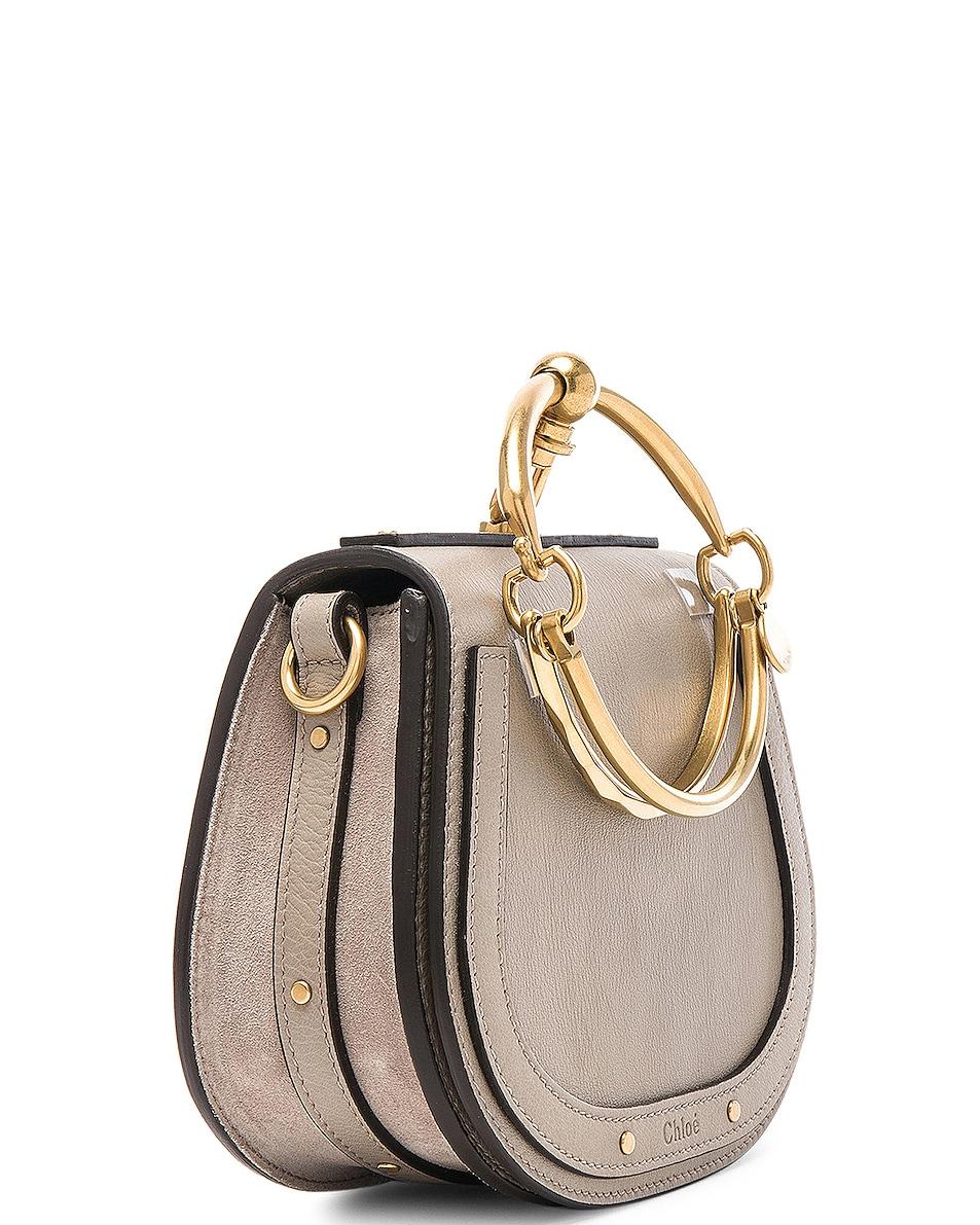 Image 4 of Chloe Small Nile Bracelet Bag Calfskin & Suede in Motty Grey