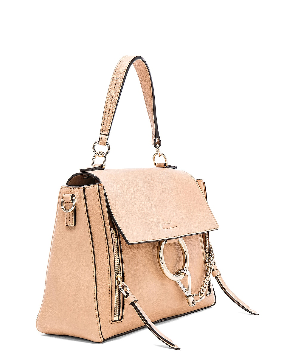 Image 4 of Chloe Small Faye Day Bag Calfskin & Suede in Blush Nude