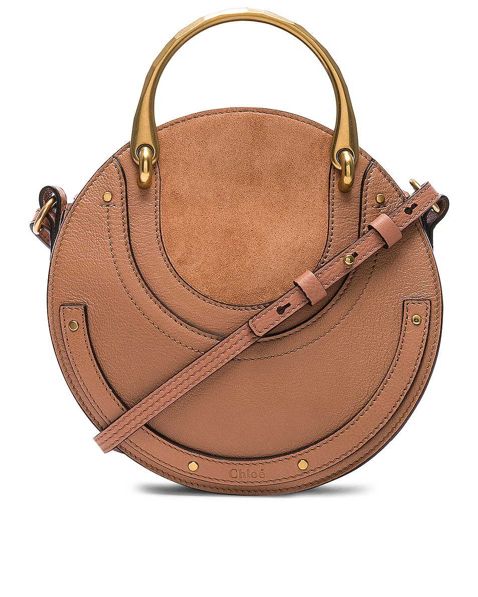 Image 1 of Chloe Small Pixie Shiny Goatskin, Calfskin & Suede Double Handle Bag in Nougat