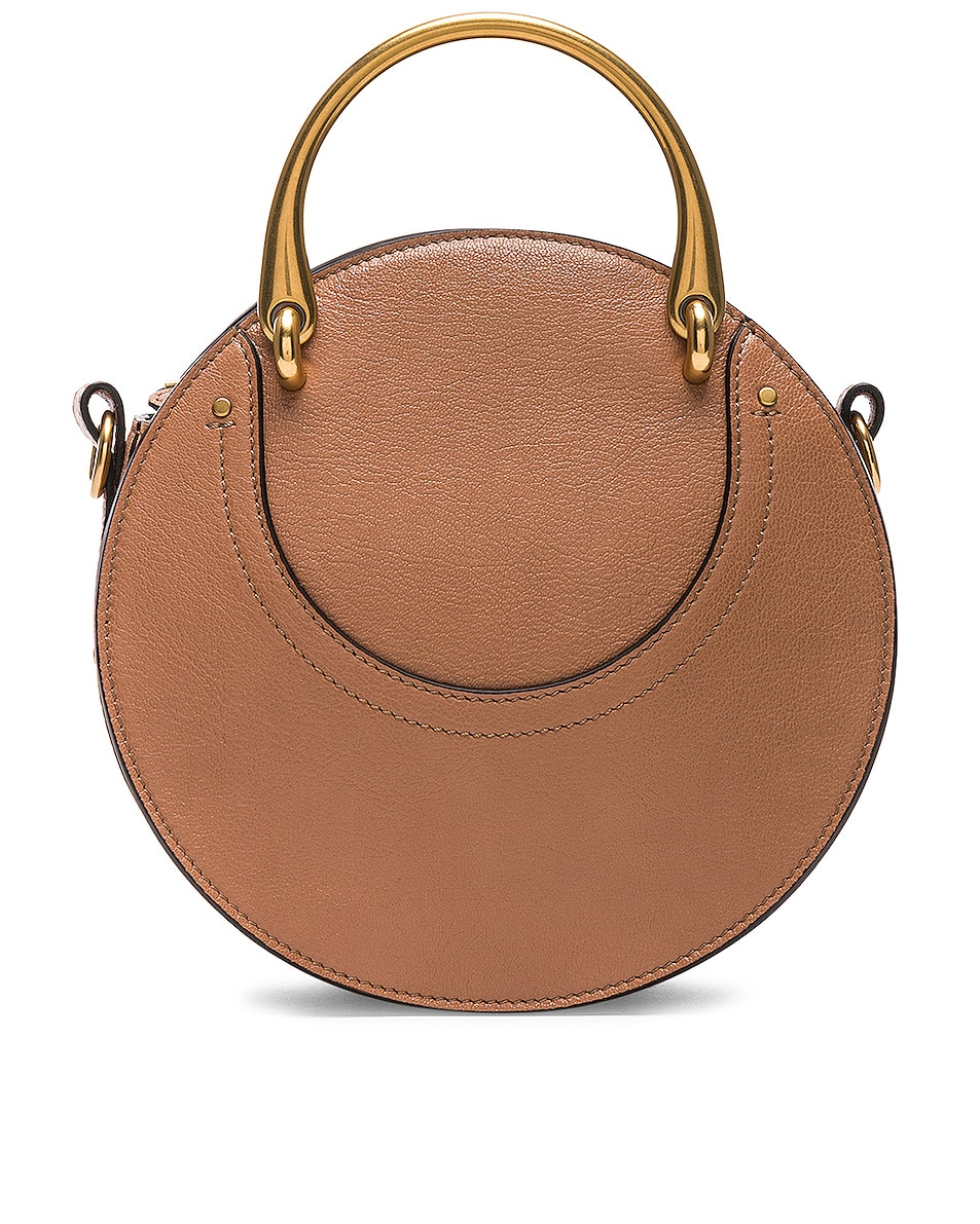 Image 3 of Chloe Small Pixie Shiny Goatskin, Calfskin & Suede Double Handle Bag in Nougat