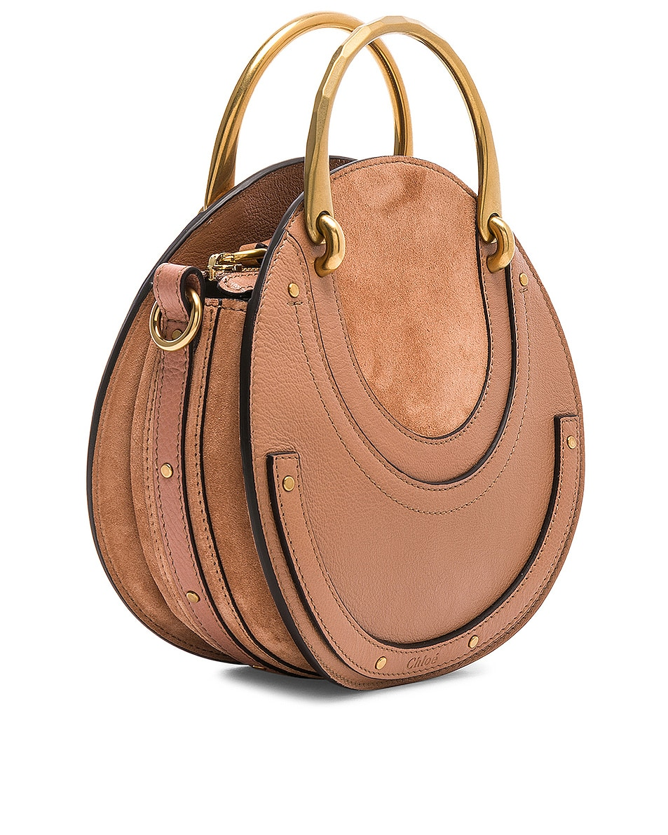 Image 4 of Chloe Small Pixie Shiny Goatskin, Calfskin & Suede Double Handle Bag in Nougat