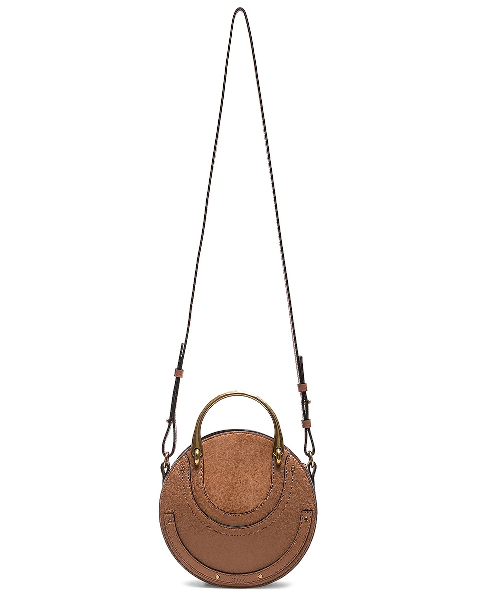 Image 6 of Chloe Small Pixie Shiny Goatskin, Calfskin & Suede Double Handle Bag in Nougat