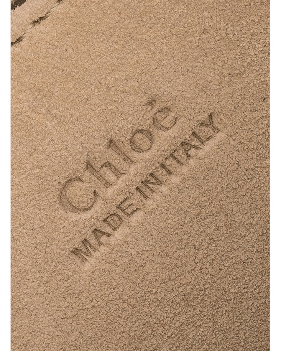 Image 7 of Chloe Small Pixie Shiny Goatskin, Calfskin & Suede Double Handle Bag in Nougat