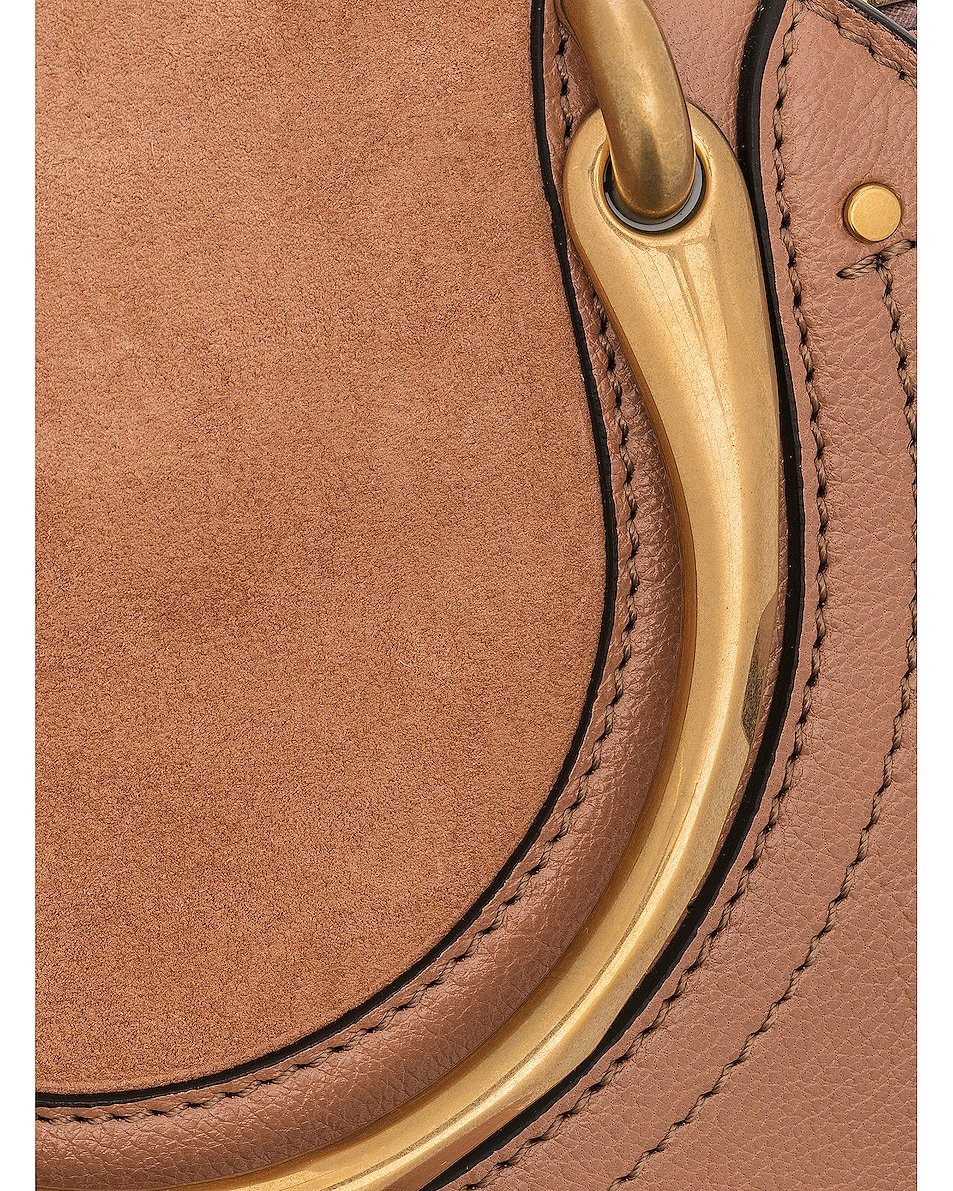 Image 8 of Chloe Small Pixie Shiny Goatskin, Calfskin & Suede Double Handle Bag in Nougat
