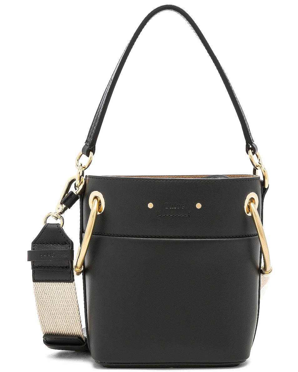 Image 1 of Chloe Mini Roy Calfskin Bucket Bag in Black