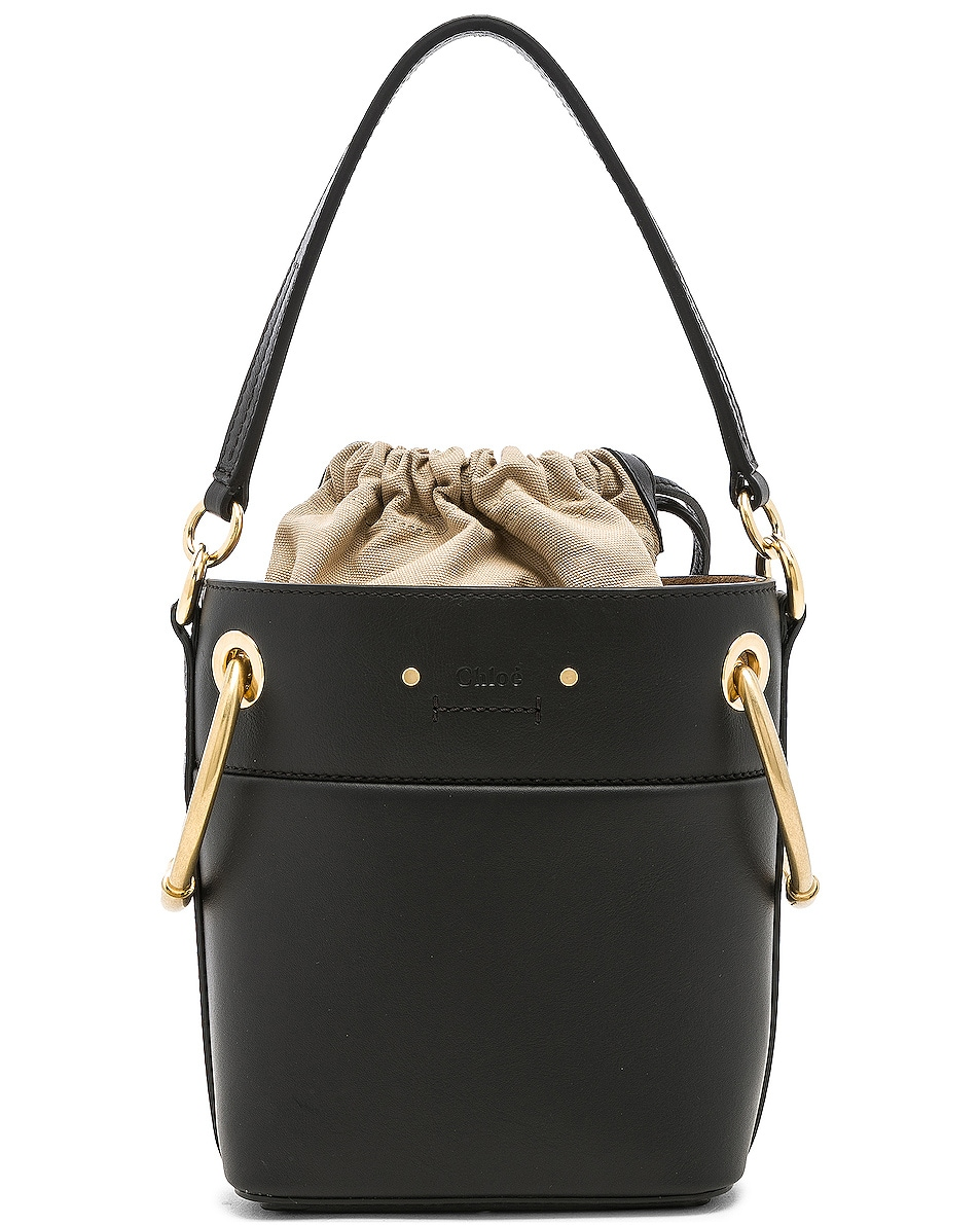 Image 3 of Chloe Mini Roy Calfskin Bucket Bag in Black