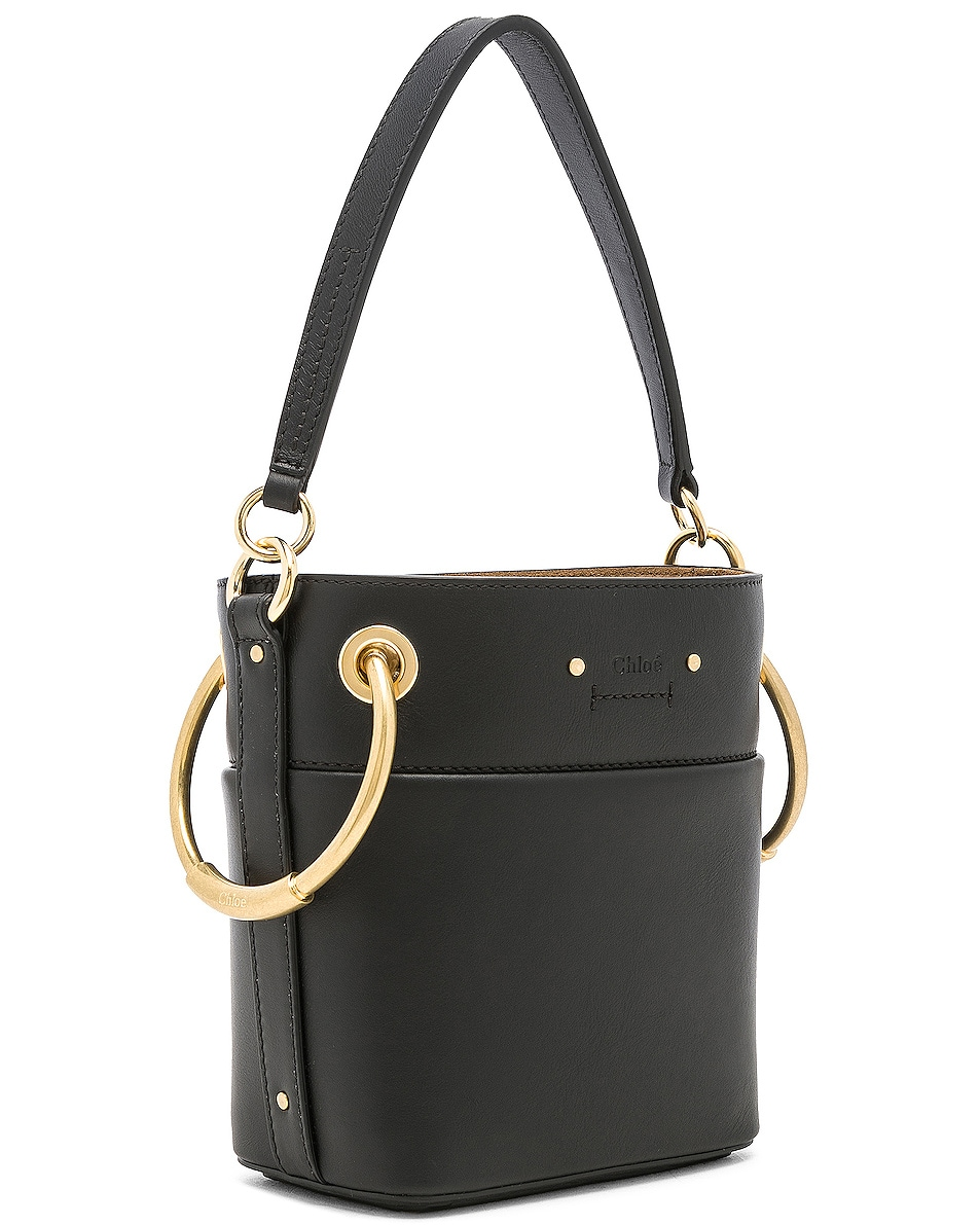Image 4 of Chloe Mini Roy Calfskin Bucket Bag in Black