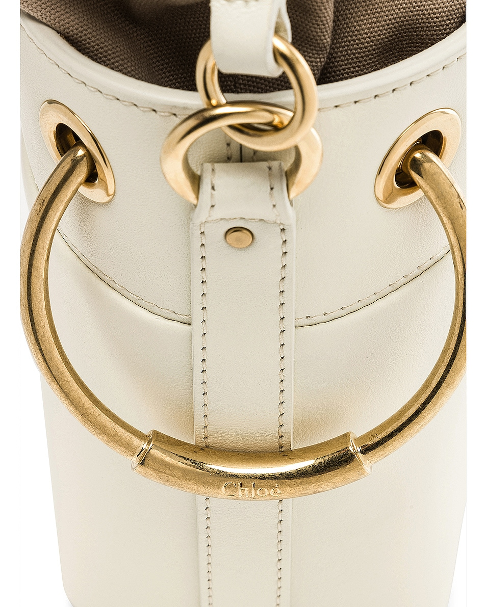 Image 8 of Chloe Mini Roy Calfskin Bucket Bag in Natural White