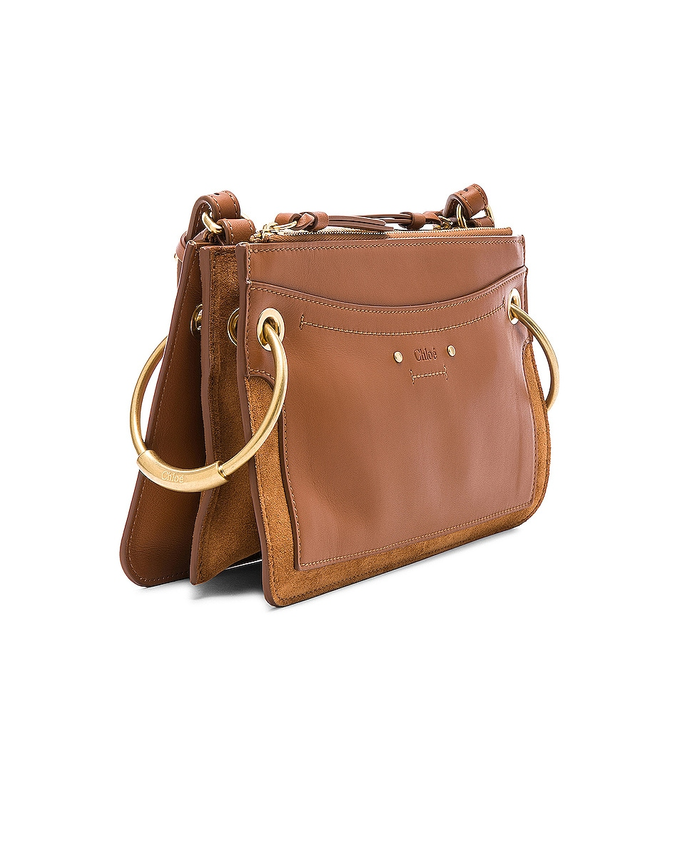 Image 4 of Chloe Mini Roy Calfskin & Suede Shoulder Bag in Caramel