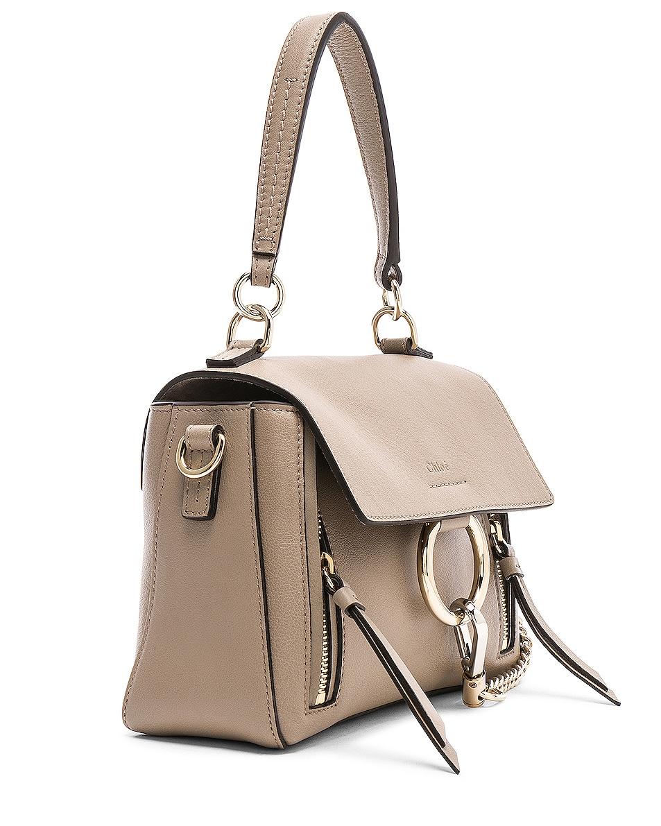 Image 4 of Chloe Mini Faye Calfskin & Suede Day Bag in Motty Grey