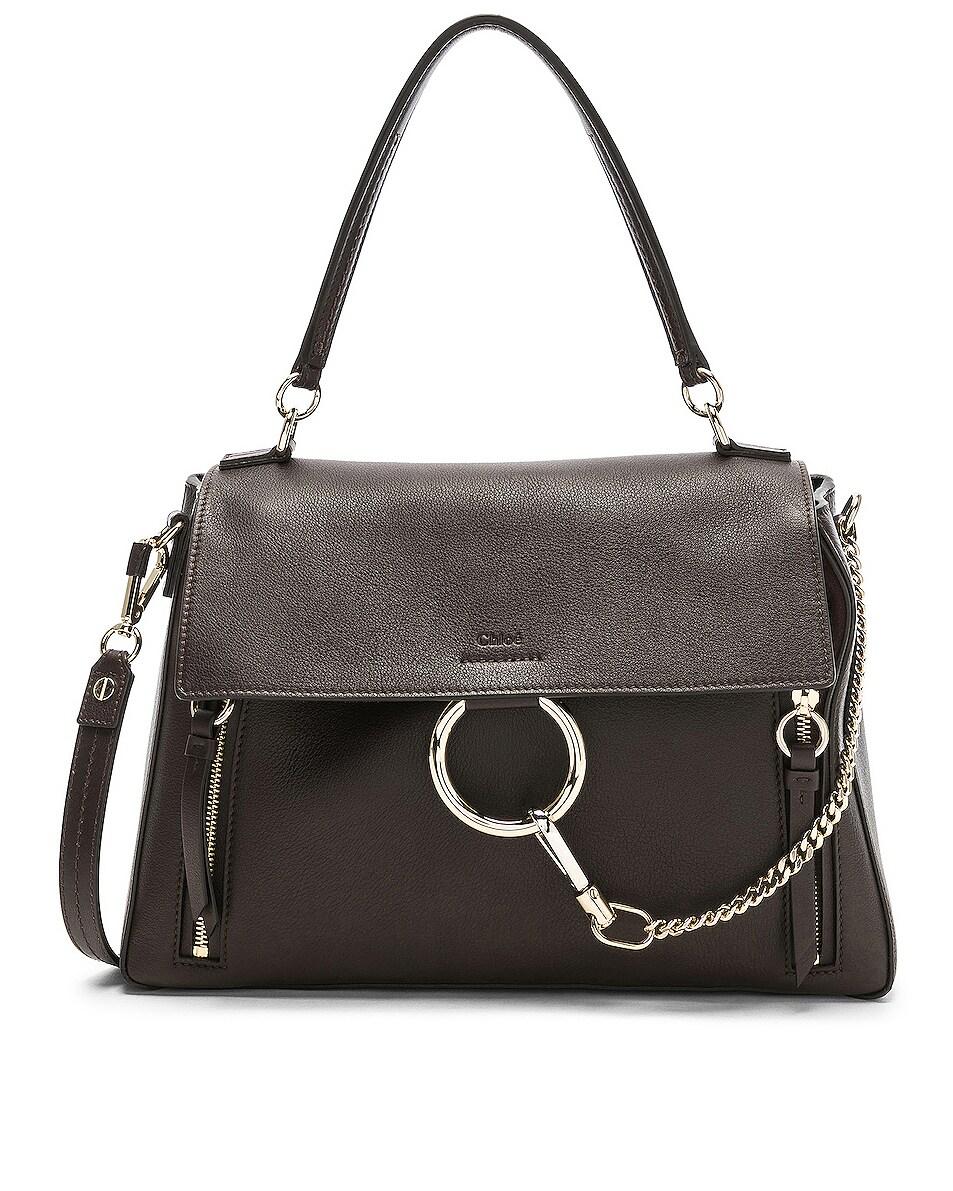 Image 1 of Chloe Medium Faye Calfskin & Suede Day Bag in Carbon Brown