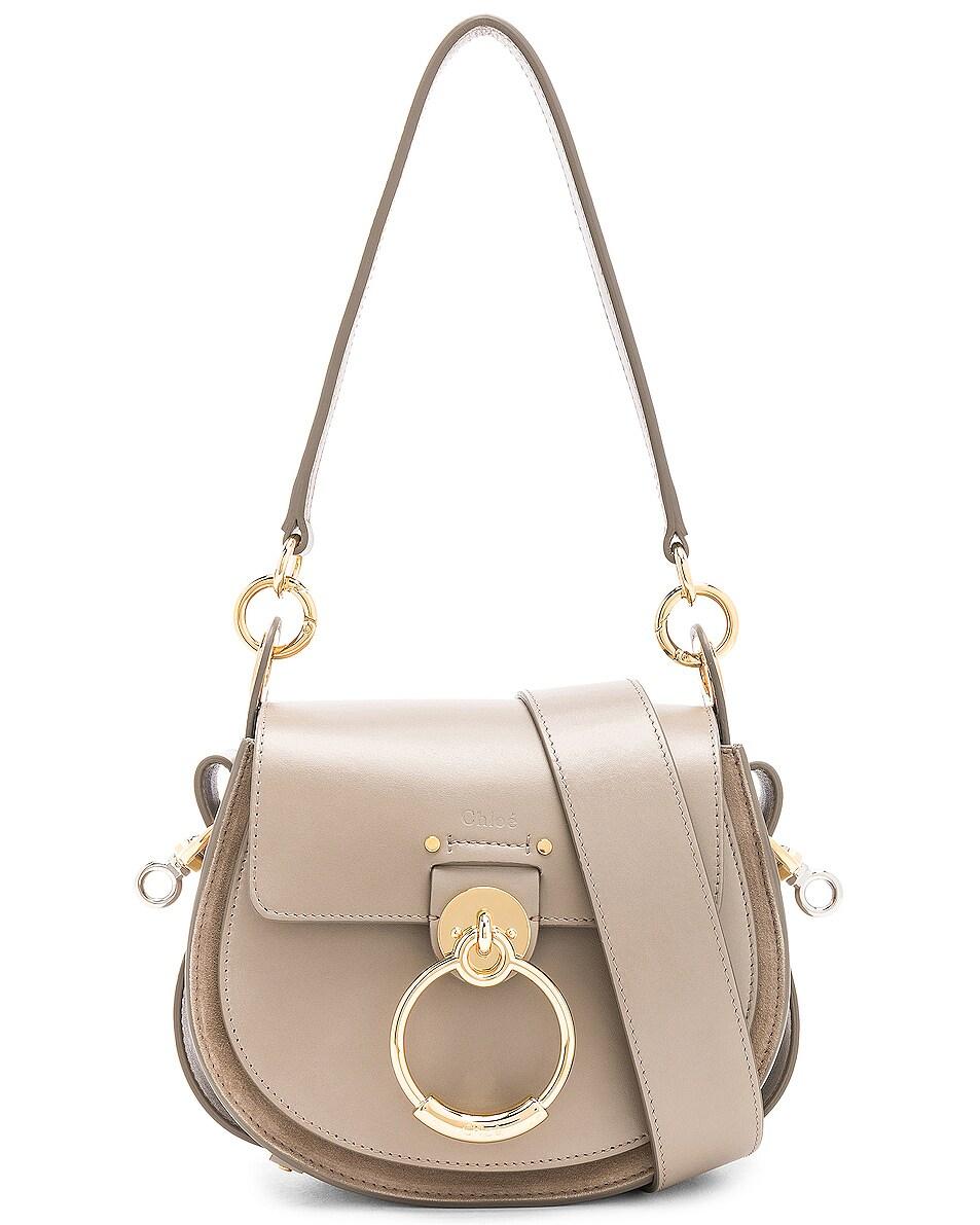 Image 1 of Chloe Small Tess Shiny Calfskin Shoulder Bag in Motty Grey