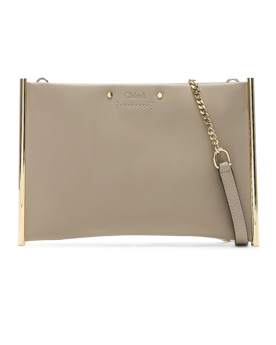 Image 1 of Chloe Roy Smooth Calfskin Clutch in Pastel Grey