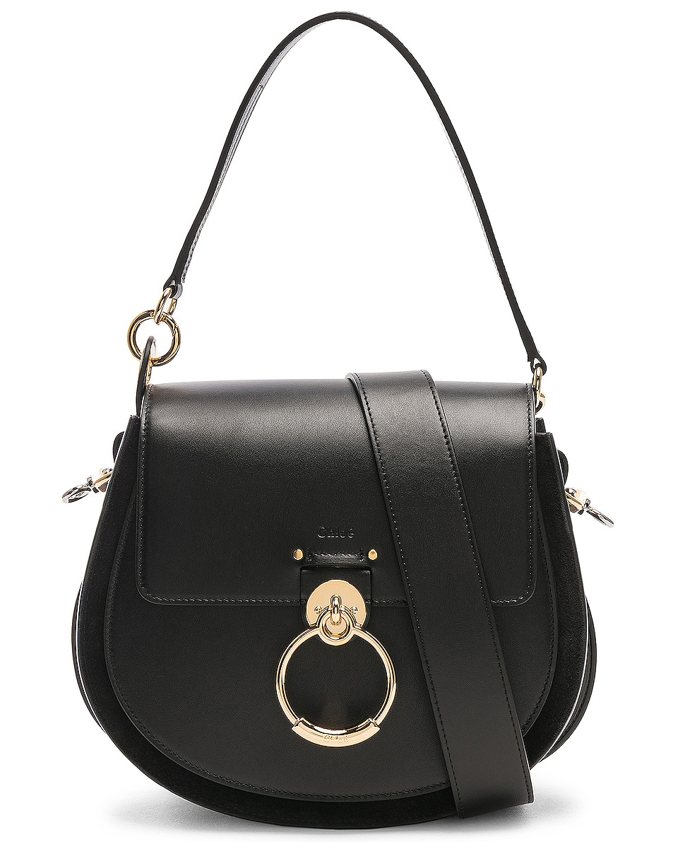 Image 1 of Chloe Medium Tess Shiny Calfskin Shoulder Bag in Black