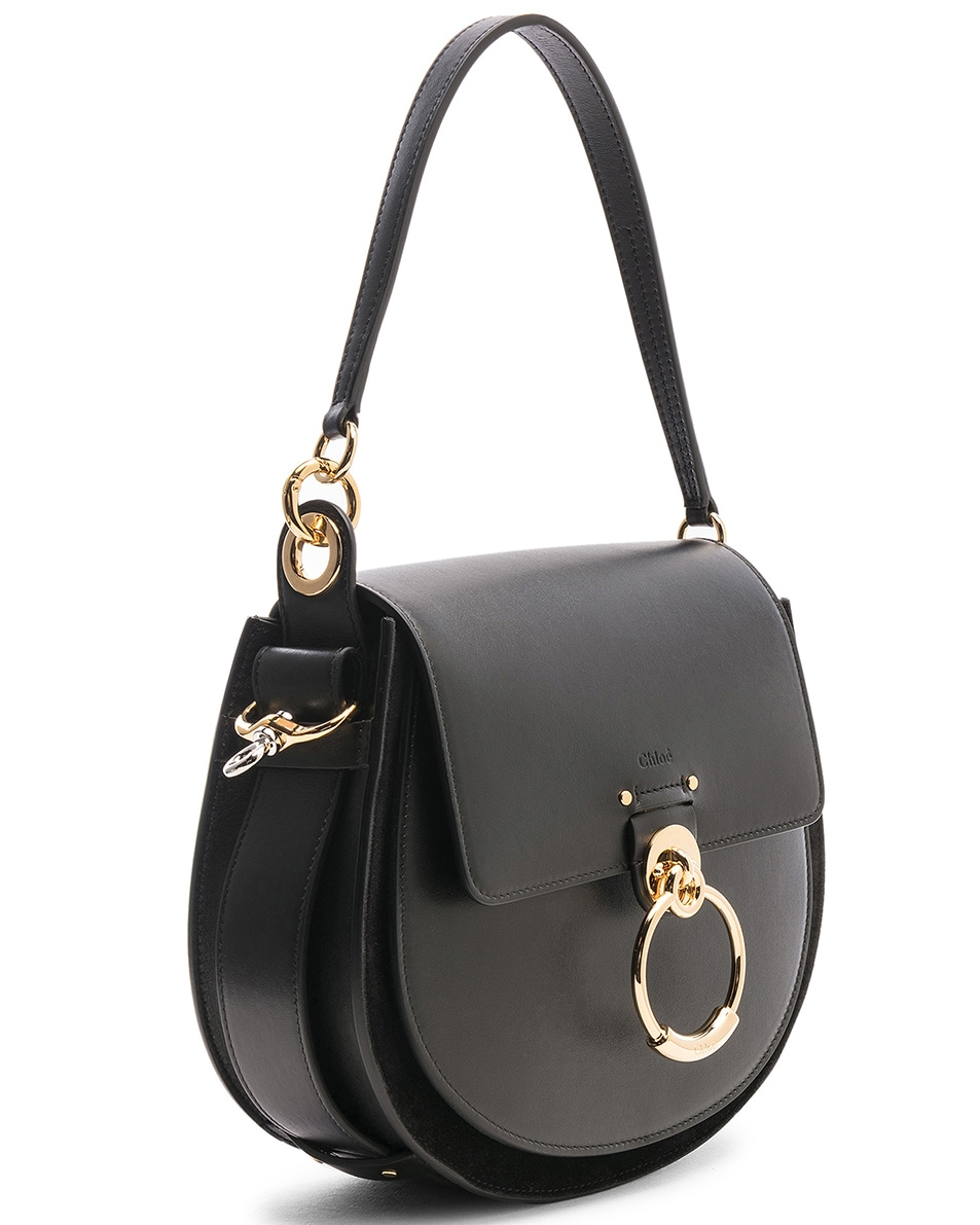 Image 4 of Chloe Medium Tess Shiny Calfskin Shoulder Bag in Black