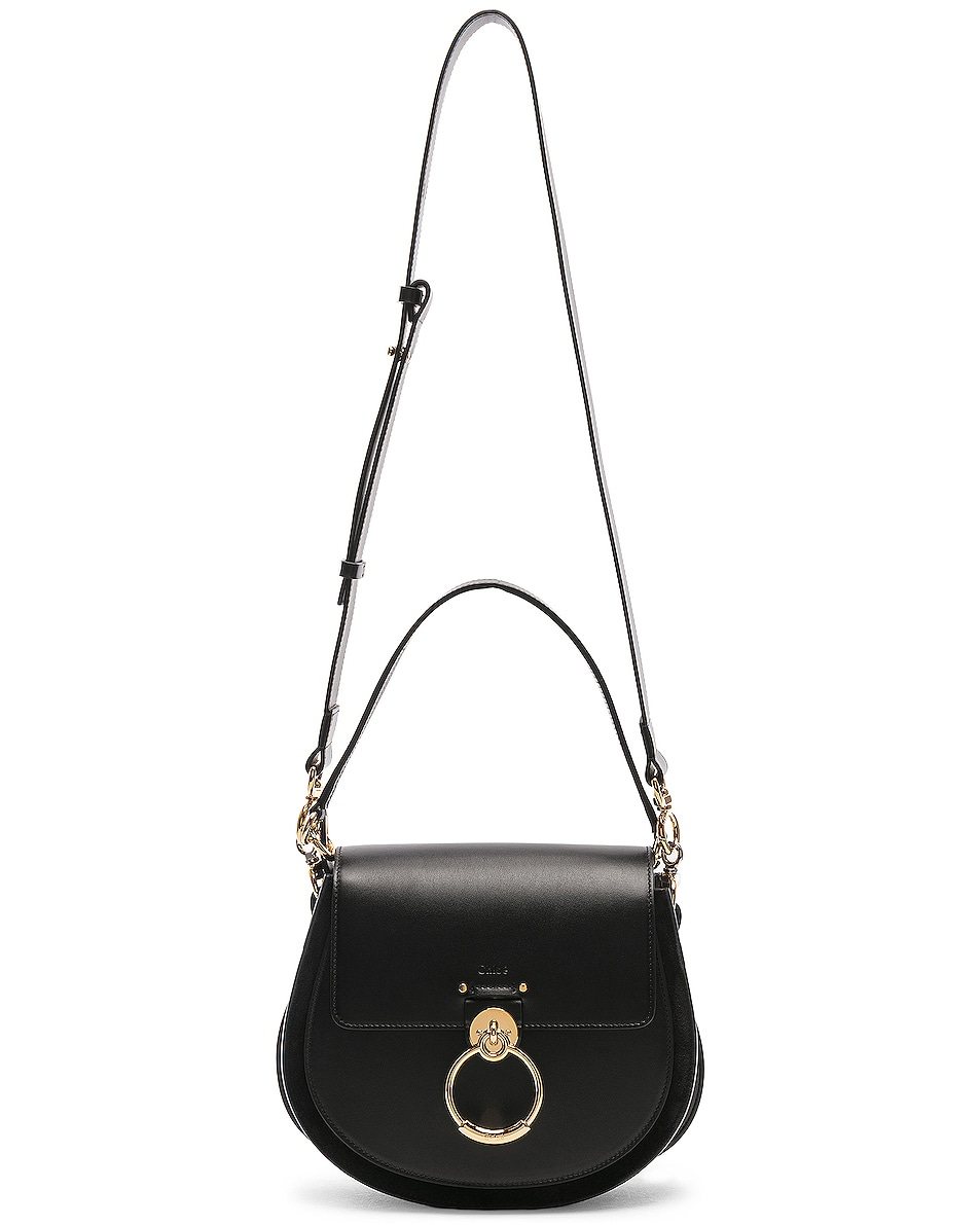 Image 6 of Chloe Medium Tess Shiny Calfskin Shoulder Bag in Black