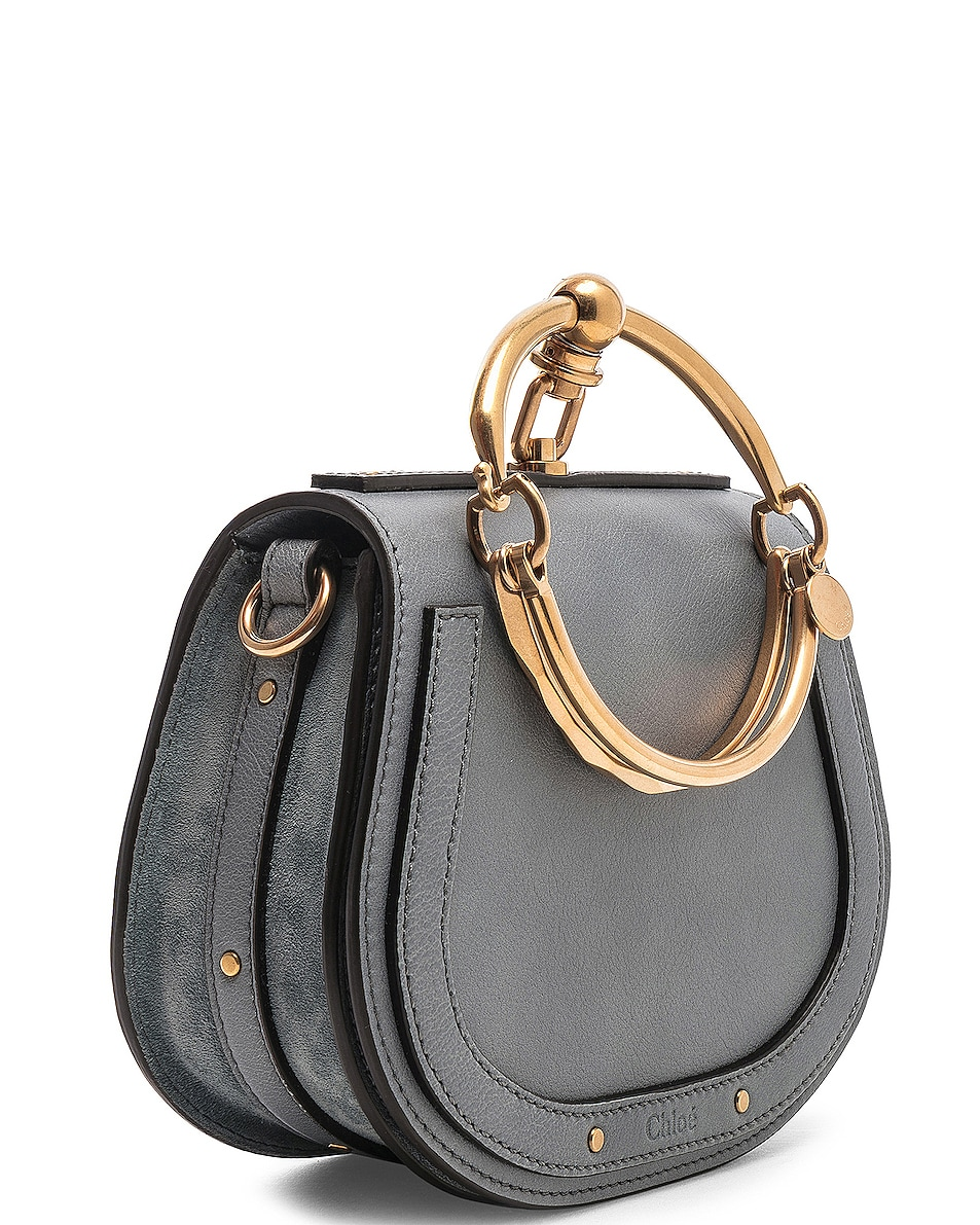Image 4 of Chloe Small Nile Bracelet Bag Calfskin & Suede in Cloudy Blue