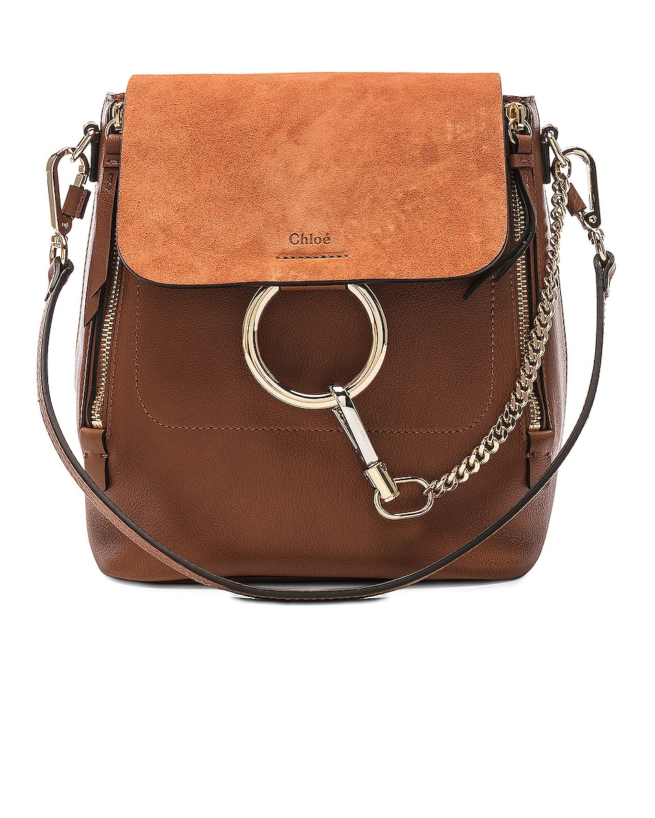 Image 1 of Chloe Small Faye Backpack Calfskin & Suede in Tan