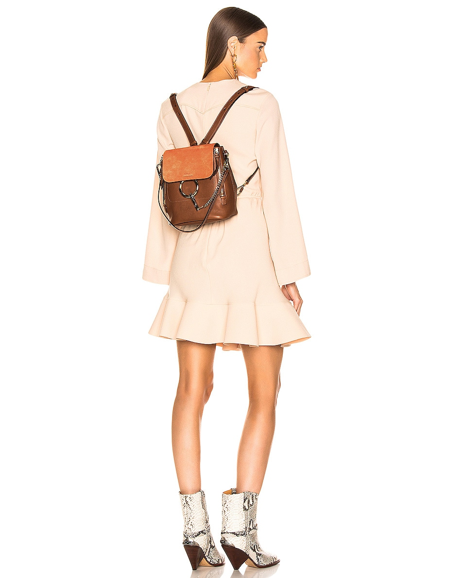 Image 2 of Chloe Small Faye Backpack Calfskin & Suede in Tan