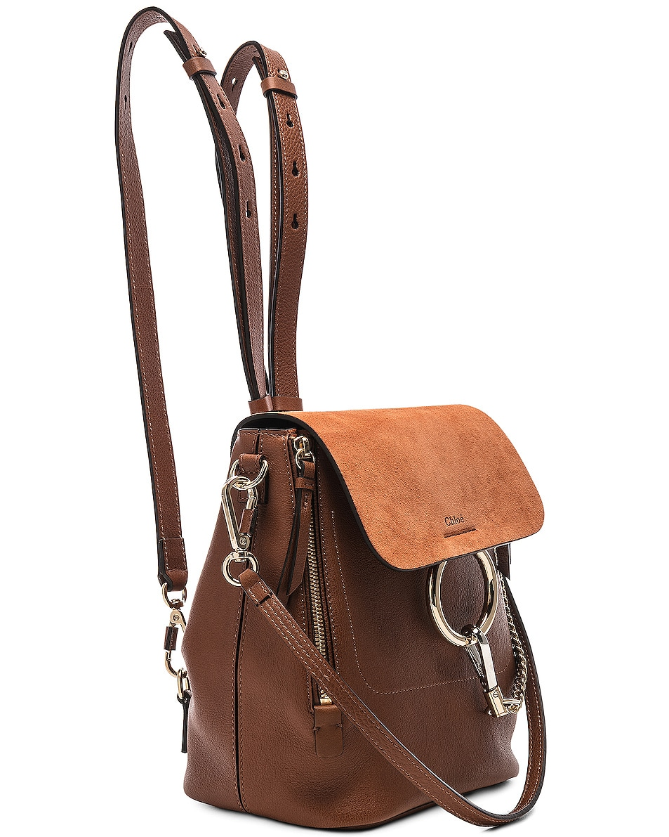 Image 4 of Chloe Small Faye Backpack Calfskin & Suede in Tan
