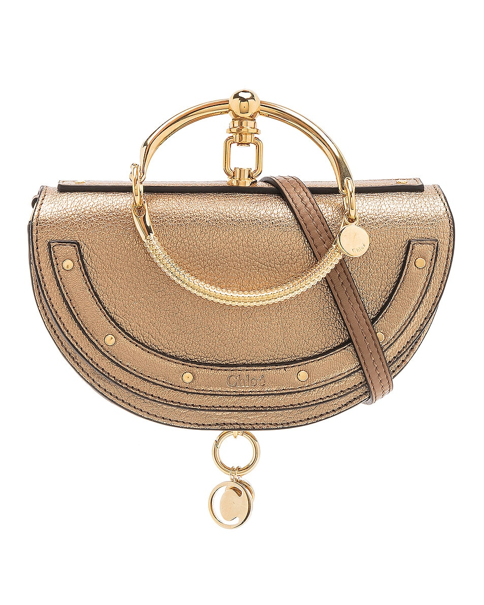 Image 1 of Chloe Small Nile Leather Metallic Minaudiere in Gold