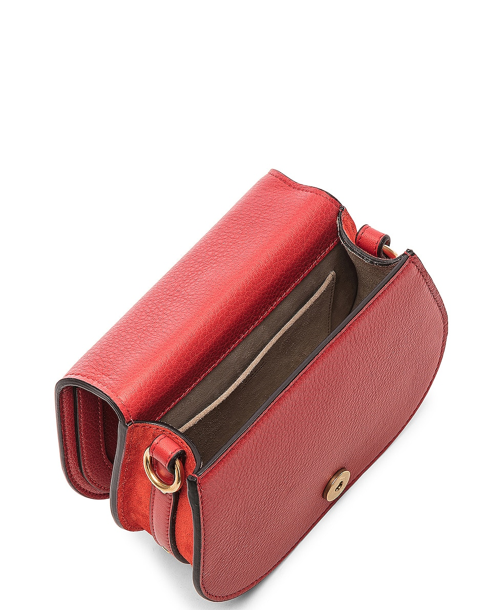 Image 5 of Chloe Small Nile Bracelet Bag Calfskin & Suede in Plaid Red