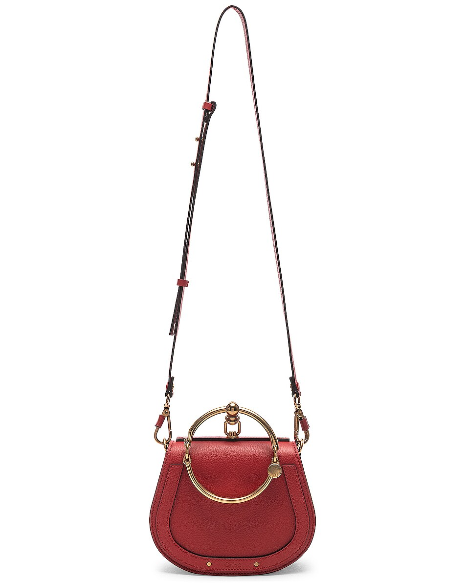 Image 6 of Chloe Small Nile Bracelet Bag Calfskin & Suede in Plaid Red