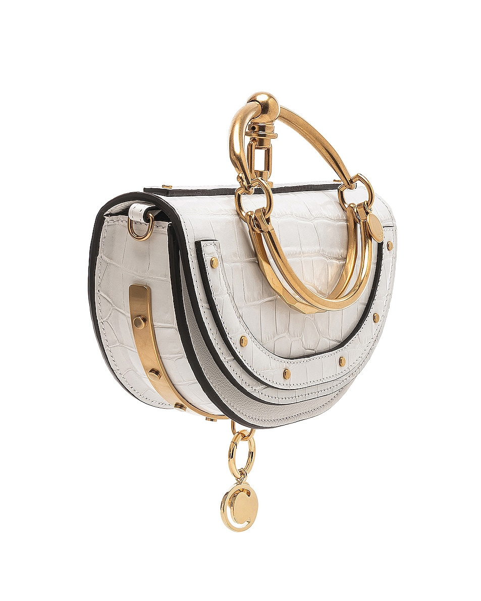 Image 4 of Chloe Small Nile Embossed Minaudiere in Brilliant White