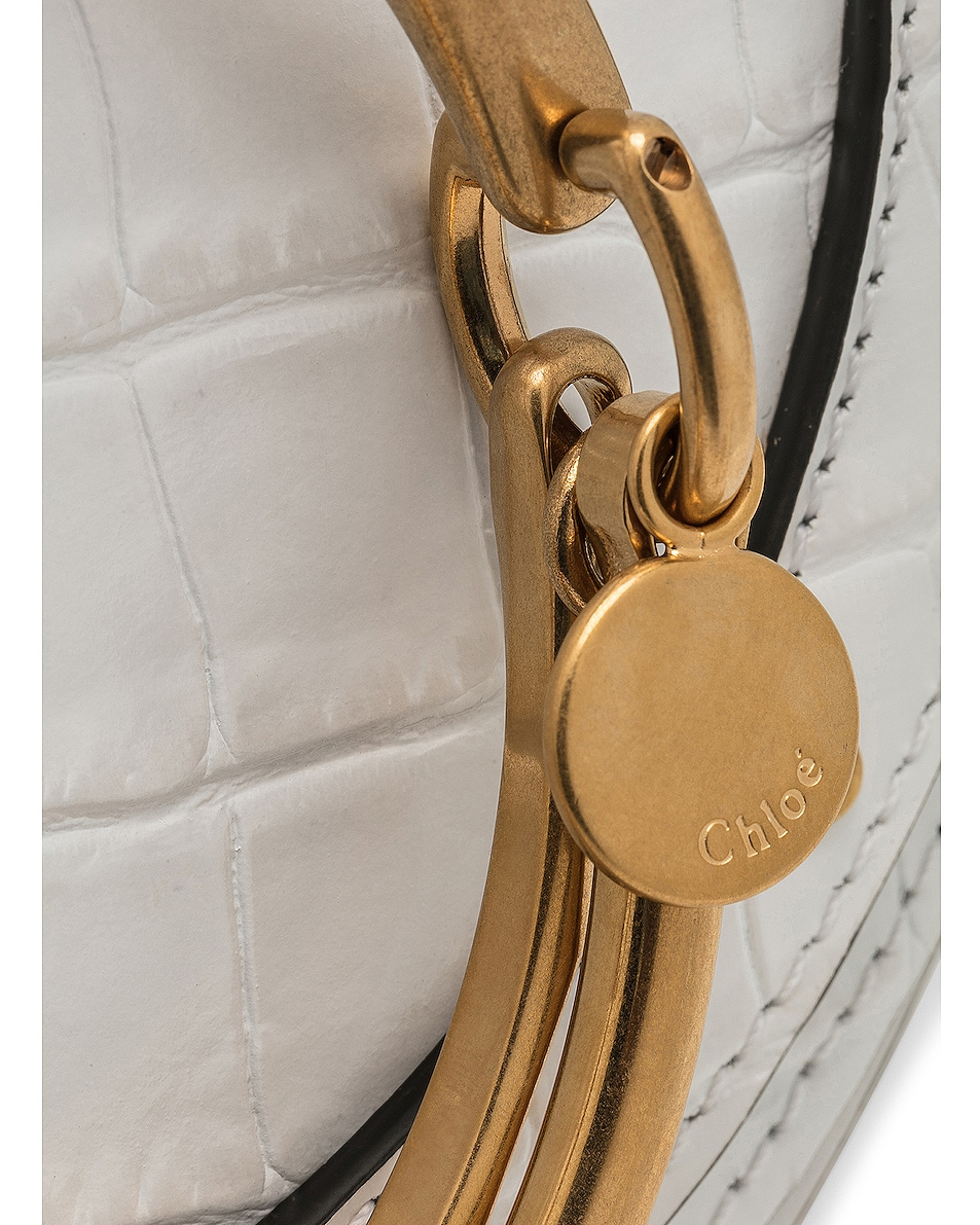 Image 8 of Chloe Small Nile Embossed Minaudiere in Brilliant White