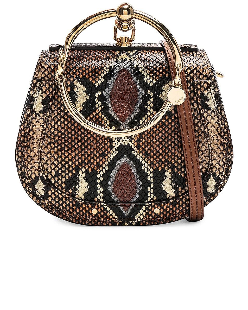 Image 1 of Chloe Nile Small Python Print Bracelet Bag in Caramel