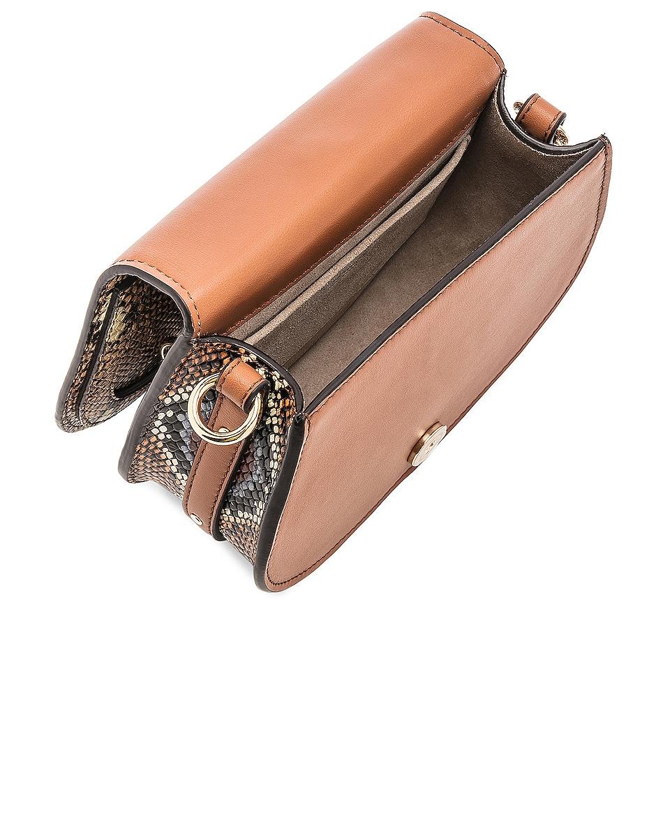 Image 5 of Chloe Nile Small Python Print Bracelet Bag in Caramel