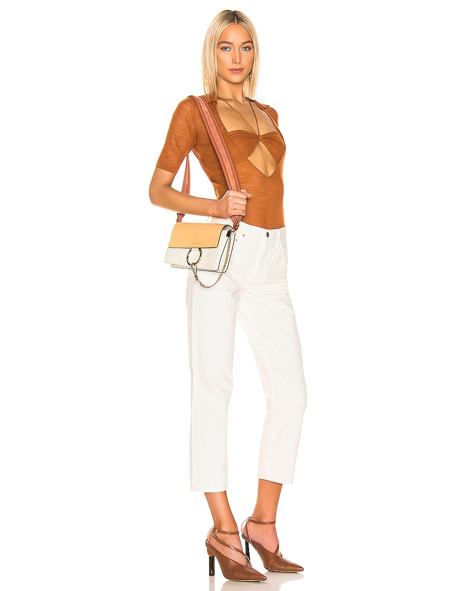 Image 2 of Chloe Small Faye Bag in Brown & White