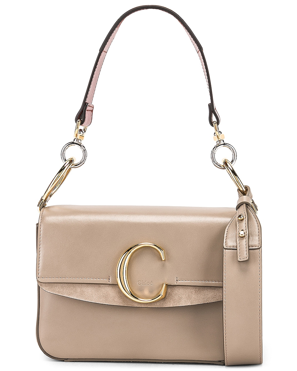Image 1 of Chloe Chloe C Small Suede-Trimmed Leather Shoulder Bag in Motty Grey